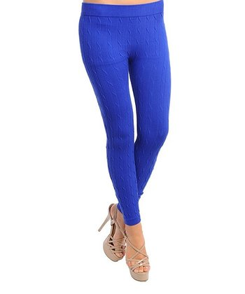 Royal Blue Cable Knit Leggings
