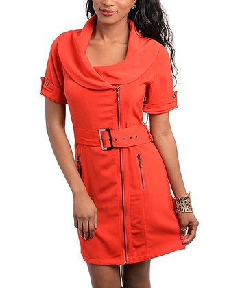 Red Belted Cowl Neck Dress