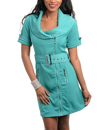 Emerald Belted Cowl Neck Dress