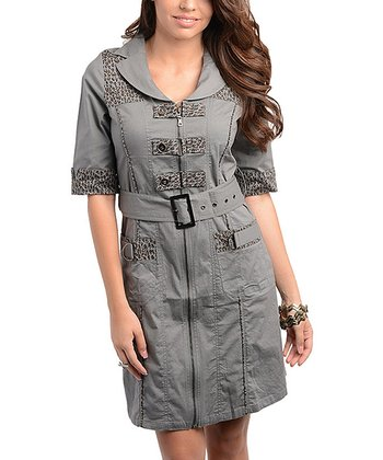 Gray Leopard Belted Dress