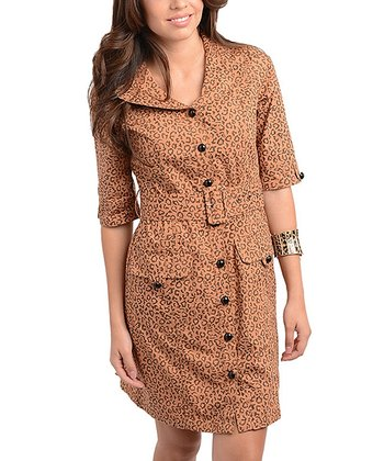 Mustard Leopard Belted Shirt Dress