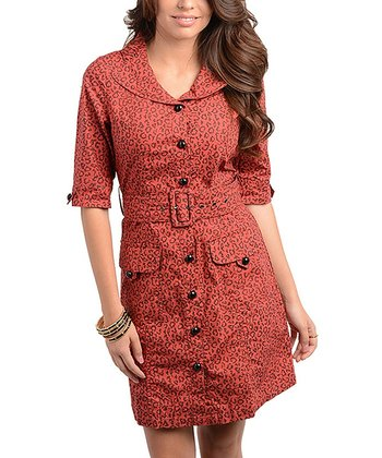 Brick Leopard Belted Shirt Dress