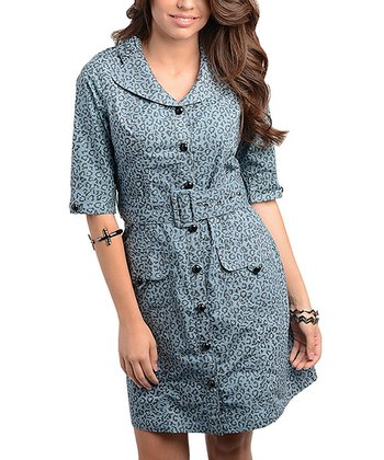 Gray Leopard Belted Shirt Dress