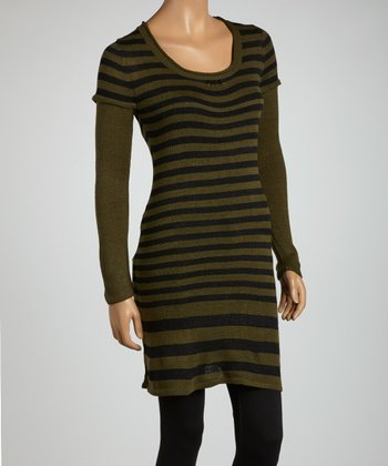 Olive & Black Stripe Layered Tunic