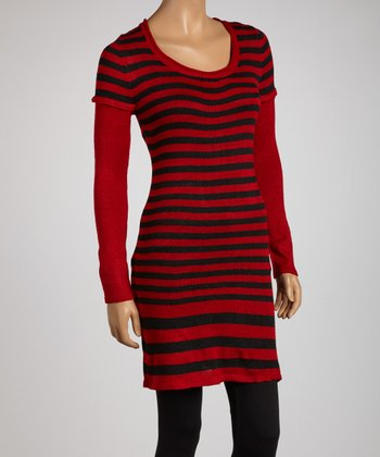 Red & Black Stripe Layered Tunic