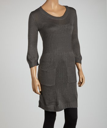 Gray Three-Quarter Sleeve Sweater Tunic