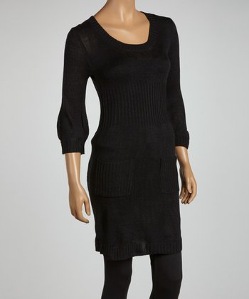 Black Three-Quarter Sleeve Sweater Tunic