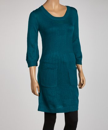 Teal Three-Quarter Sleeve Sweater Tunic