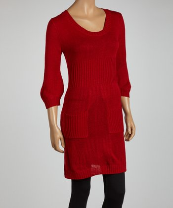 Red Three-Quarter Sleeve Sweater Tunic