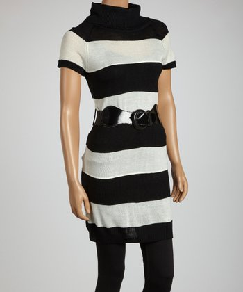 Cream & Black Stripe Belted Sweater Tunic