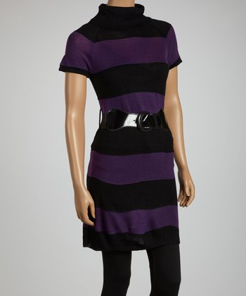 Purple & Black Stripe Belted Sweater Tunic