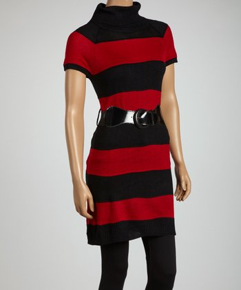Red & Black Stripe Belted Sweater Tunic