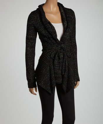 Black & Gold Shimmer Open Cardigan