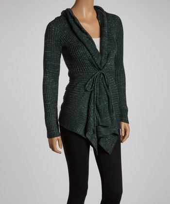 Green & Gold Shimmer Open Cardigan