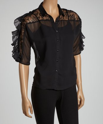 Black Ruffle Lace-Shoulder Button-Up