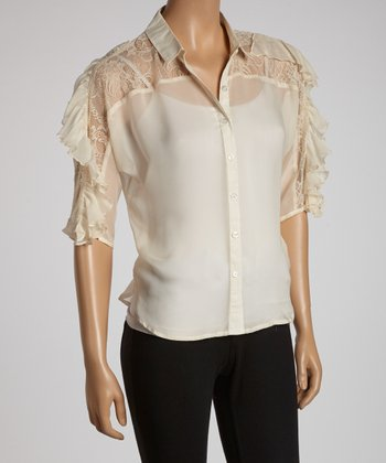 Ivory Ruffle Lace-Shoulder Button-Up