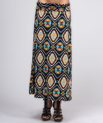 Black & Brown Ikat Maxi Skirt