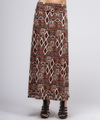Brown & Red Maxi Skirt