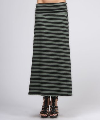 Dark Green & Charcoal Stripe Maxi Skirt