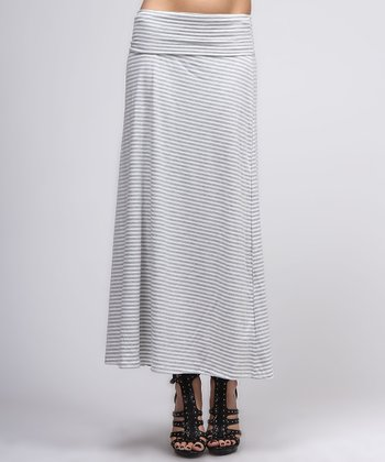 White & Gray Maxi Skirt