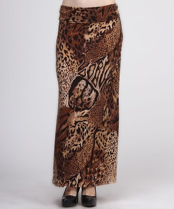 Brown & Tan Safari Maxi Skirt