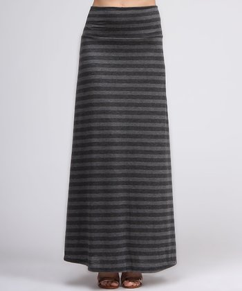 Charcoal & Gray Stripe Maxi Skirt