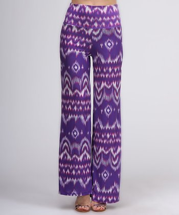 Purple Ikat Flare Pants