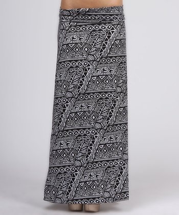 Black Tribal Maxi Skirt