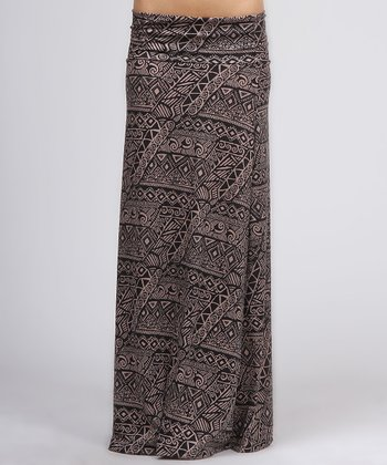 Brown Tribal Maxi Skirt