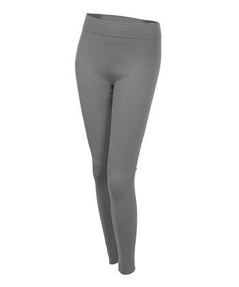 Charcoal Gray Seamless Fleece-Lined Leggings