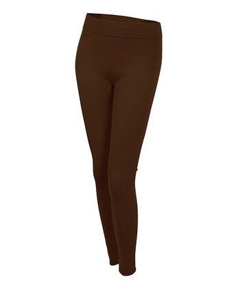 Coffee Seamless Fleece-Lined Leggings