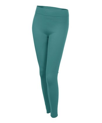 Dark Teal Fleece-Lined Leggings