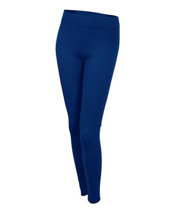 Navy Seamless Fleece-Lined Leggings
