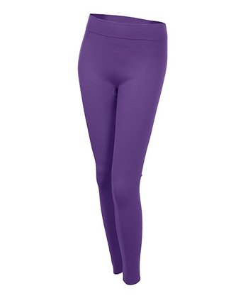 Purple Fleece-Lined Leggings