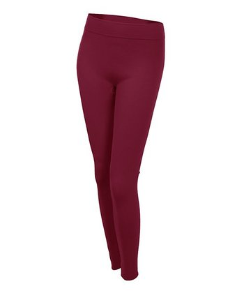 Wine Seamless Fleece-Lined Leggings