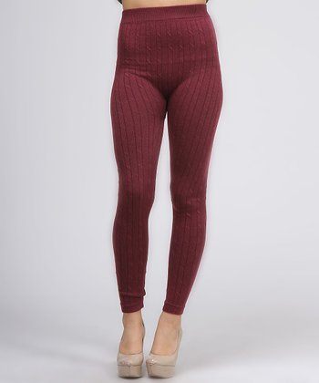 Maroon Knit Leggings
