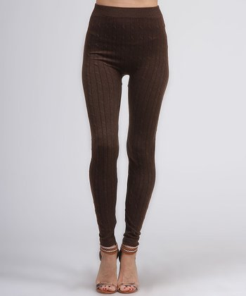 Brown Knit Leggings