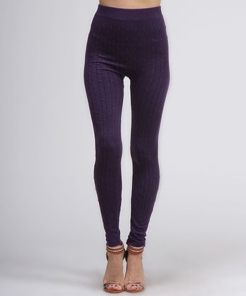 Purple Knit Leggings