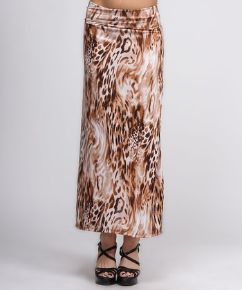 Brown & White Safari Maxi Skirt