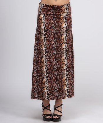 Brown & Black Snakeskin Print Maxi Skirt