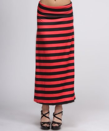 Red & Black Stripe Maxi Skirt