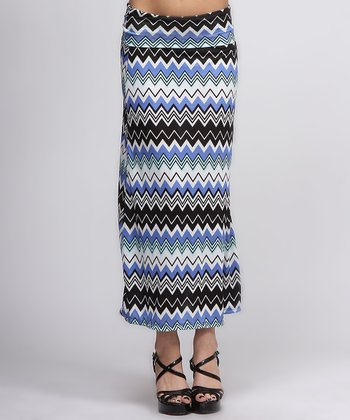 Blue & Black Zigzag Maxi Skirt