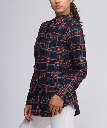 Navy Plaid Flannel Button-Up