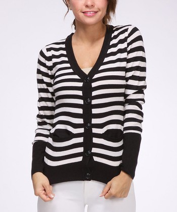 Black & White Stripe Pocket Cardigan