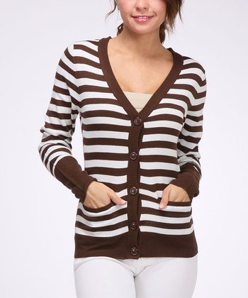 Brown & White Stripe Pocket Cardigan