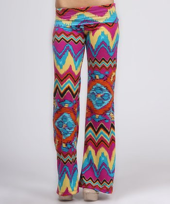 Fuchsia & Teal Distortion Fold-Over Pants