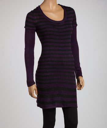 Purple & Black Stripe Layered Tunic