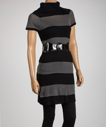 Gray & Black Stripe Belted Sweater Tunic