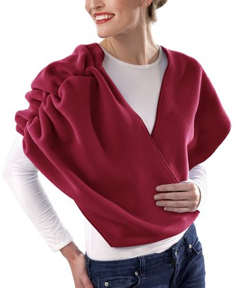 Cherry Red Ruched Infinity Scarf