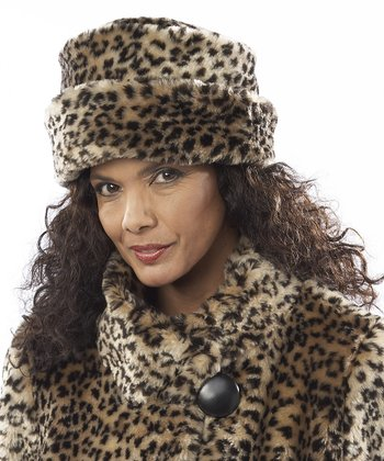Brown Leopard Faux Fur Toque Beanie
